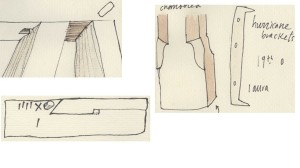 Sketches of architectural details at Laura, including marks that were used to measure floor beams